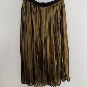 BB Dakota gold pleated midi skirt
